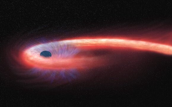 A black hole tears a star apart, leaving a long string of star material, which then wraps itself around the black hole. Credit: NASA / CXC / M. Weiss