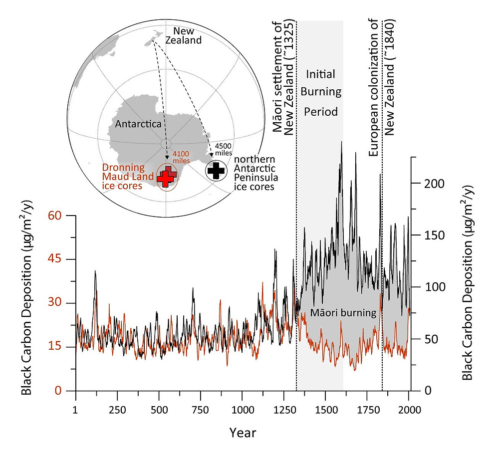 Black carbon deposition during the past 2000 years measured in ice cores from Dronning Maud Land in continental Antarctica and James Ross Island at the northern tip of the Antarctic Peninsula. Atmospheric modeling and local burning records indicate that the pronounced increase in deposition in the northern Antarctic Peninsula starting in the late 13th century was related to Māori settlement of New Zealand nearly 4000 miles away and their use of fire for land clearing and management. Inset shows locations of New Zealand and ice-core drilling sites in Antarctica. Credit: DRI
