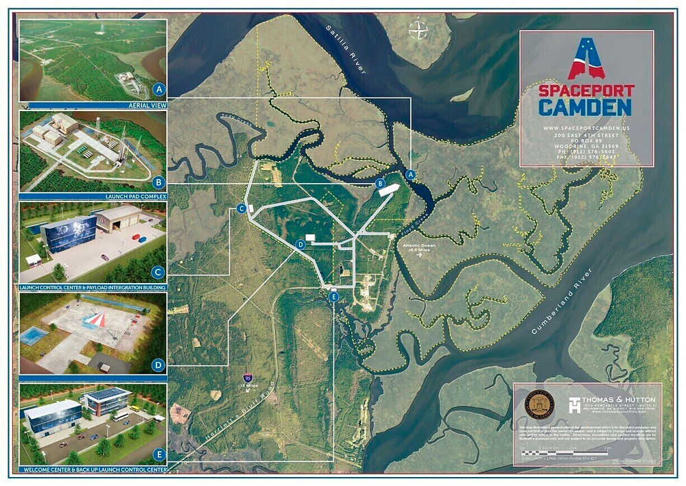 This artist's sketch provided by Spaceport Camden shows an early rendering of the area of the proposed Spaceport Camden in Camden County, Ga. Since 2012, Officials in Camden County have spent nine years and $10 million pursuing a license to operate the 13th licensed, private spaceport in the U.S. The FAA issued a final environmental impact study Thursday, June 17, 2021, and a decision on its license is expected next month. Credit: Spaceport Camden via AP