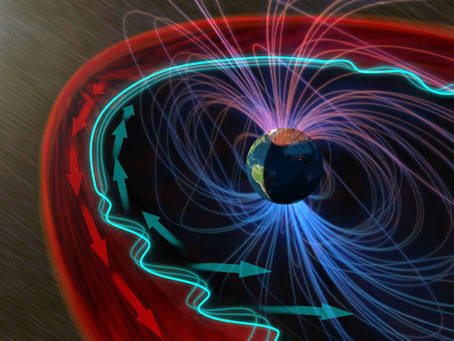 Solar wind interacting with the magnetospheric bubble around Earth creates waves of energy