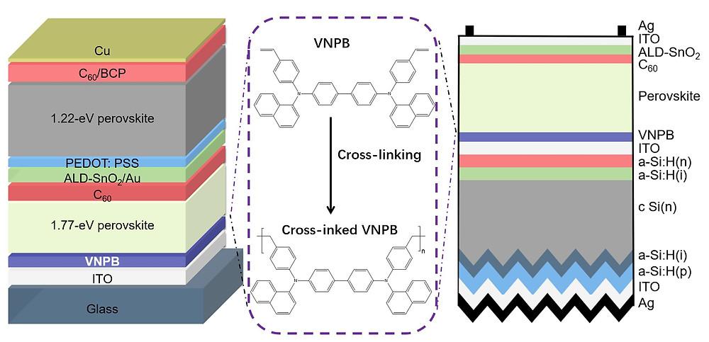 Schematic of perovskite/perovskite and perovskite/silicon tandem solar cells. Credit: ©Science China Press
