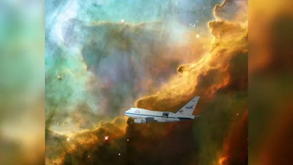 A team led by UMD astronomers created the first clear image of an expanding bubble of stellar gas where stars are born using data from NASA's SOFIA telescope on board a heavily modified 747 jet as seen here in this artist's rendering. (Image credit: Artist Rendering by Marc Pound/UMD)