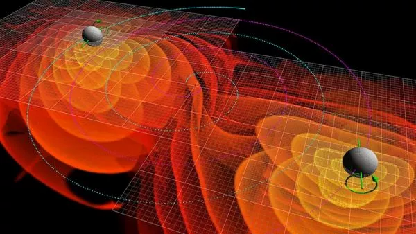 The gravitational waves emitted by two black holes as they spiral into each other, shown in a simulation. (Image credit: C. Henze/NASA Ames Research Center)