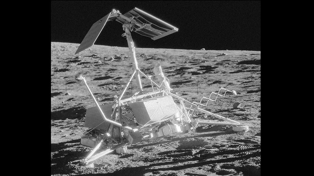 NASA's second spacecraft, Surveyor 3, made it to the Moon's surface on 17 April 1967. Using a surface sampler to study the soil on the Moon, it conducted experiments to see how the lunar surface would react against the weight of an Apollo lunar module. Image: NASA