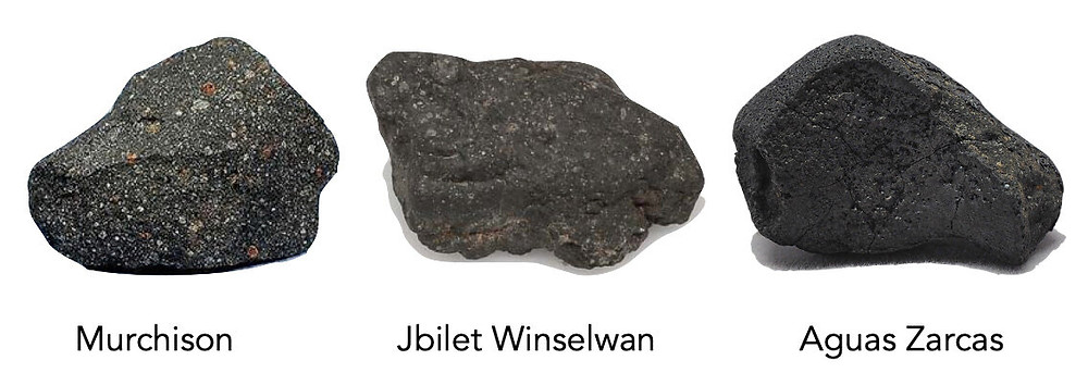 Samples from three carbonaceous chondrite meteorites--Murchison, Jbilet Winselwan, and Aguas Zarcas--were analyzed in the outgassing experiments. Credit: M. Thompson