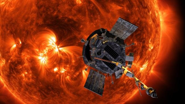 An artist's rendition of the Parker Solar Probe approaching the Sun. Astronomers have used data from Parker, along with data from other solar missions, to detect and study Solar stream interactions. Credit: NASA/Johns Hopkins APL/Steve Gribben