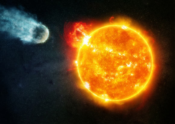 This illustration shows radiation from flares from a red dwarf star like Barnard's star eroding the atmosphere of an orbiting, rocky planet. Image credit: NASA / CXC / M. Weis.