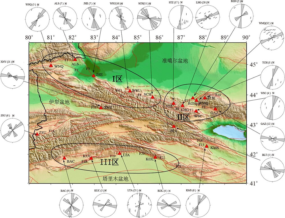 Distribution of fast-wave polarization directions in the middle part of the Tianshan Mountains. Credit: Science China Press