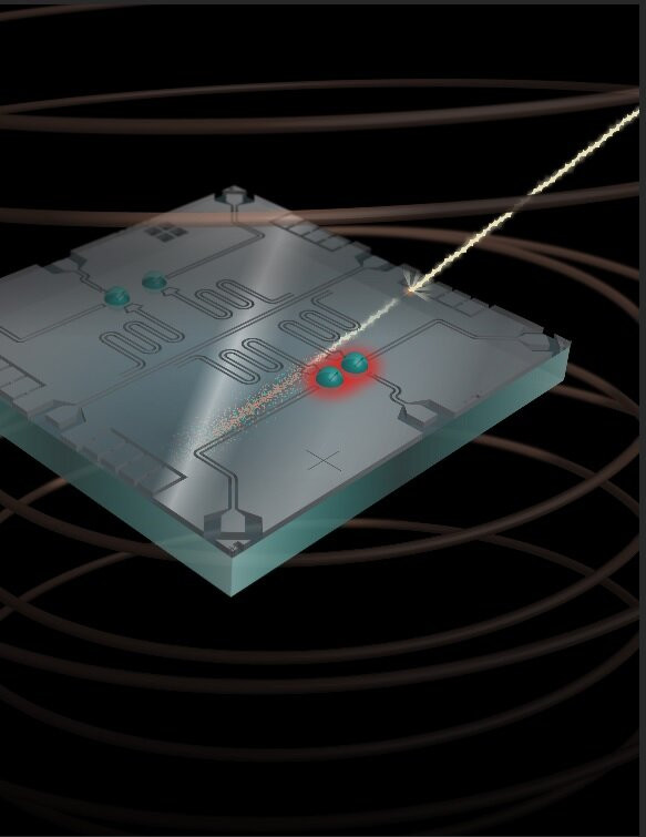 In this artistic rendering, a high-energy cosmic ray hits the qubit chip, freeing up charge in the chip substrate that disrupts the state of neighboring qubits. Credit: Robert McDermott