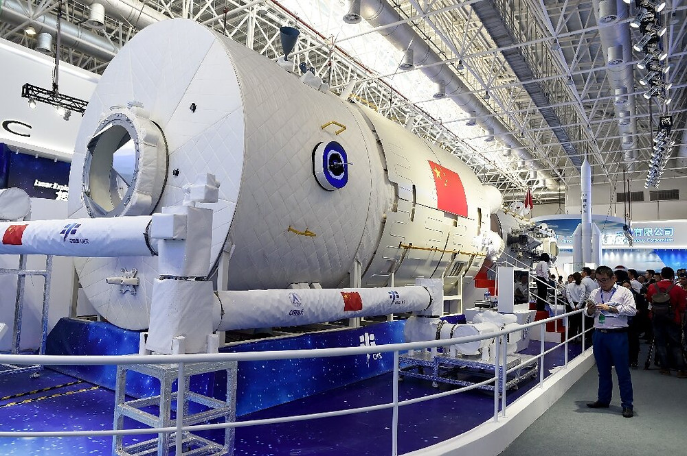 China's space ambitions include a crewed space station, a partial model of which is pictured here in 2018.