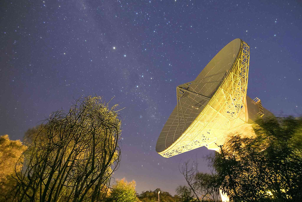 This image shows the 35 m-diameter dish antenna of ESA's deep-space tracking station at New Norcia, Australia, illuminated by ground lights against the night sky on 3 August 2015. Credit: D. O'Donnell/ESA – CC BY-SA 3.0
