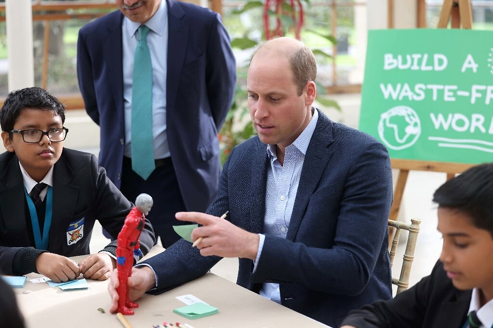Britain's Prince William visits a London school to promote the 'Generation Earthshot' educational initiative.