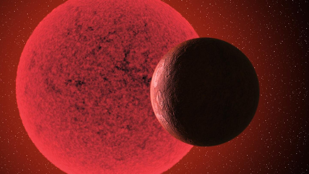 Artistic impression of the super-Earth in orbit round the red dwarf star GJ-740. Credit: Gabriel Pérez Díaz, SMM (IAC).