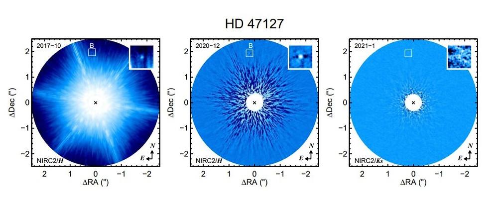 Adaptive optics images of HD 47127 with Keck/NIRC2. Credit: Bowler et al., 2021.