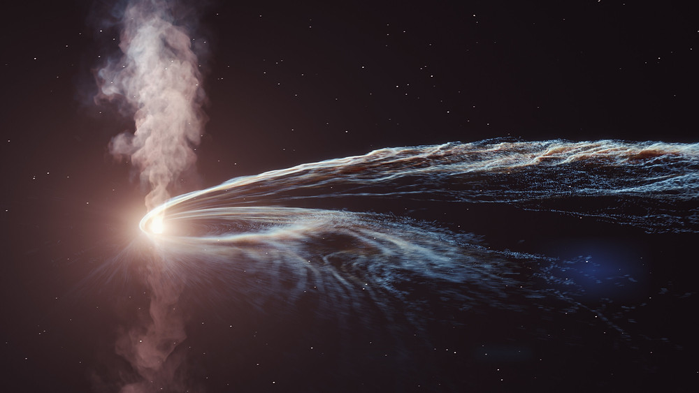 Artist's illustration of tidal disruption event AT2019dsg where a supermassive black hole spaghettifies and gobbles down a star. Some of the material is not consumed by the black hole and is flung back out into space. Credit: DESY, Science Communication Lab