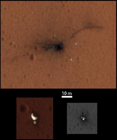 First image of crash trail left by Exomas lander © NASA/JPL-Caltech/University of Arizona