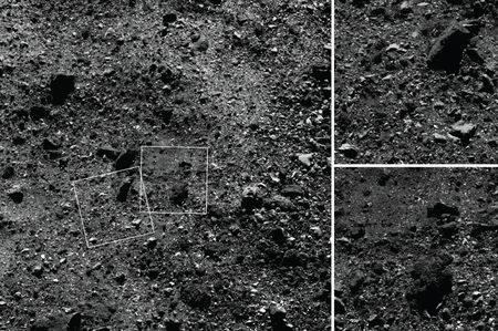 Wide angle shot of the Northern Hemisphere of Bennu, imaged by OSIRIS-REx at an altitude of approximately 1.8 km (1.1 mi)
