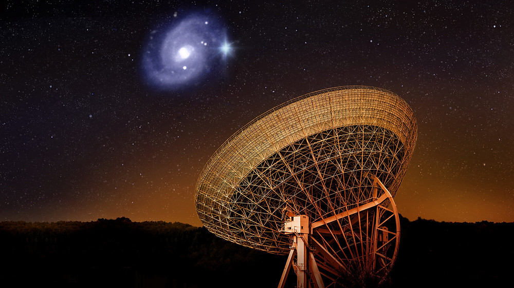 Artistic view of the Effelsberg telescope pointing its dish at the galaxy 500 million light-years from Earth where the famous fast radio burst FRB20180916B sends out bursts of flashes with regularity. Credit: Daniëlle Futselaar/ASTRON/HST