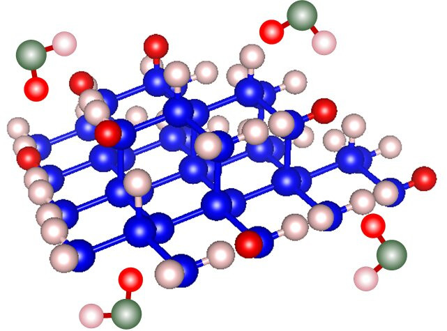 Schematic illustration of the hydrogen-to-deuterium exchange reactions at a hydrogen-terminated n-Si surface in the presence of HDO molecules (Deuterium: red spheres, Hydrogen: pink spheres, Oxygen: green spheres, Silicon: blue spheres). Credit: Takahiro Matsumoto from NCU Japan