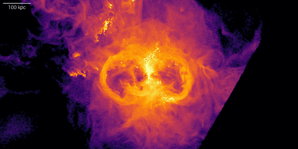 Virtual Milky Way: gas density around a massive central galaxy in a group in the virtual universe of the TNG50 simulation. Gas inside the galaxy corresponds to the bright vertical structure: a gaseous disk. To the left and right of that structure are bubbles - regions that look like circles in this image, with markedly reduced gas density inside. This geometry of the gas is due to the action of the super massive black hole that hides at the center of the galaxy and that pushes out gas preferably in directions perpendicular to the galaxy gaseous disk, carving regions of lower density. Credit: TNG Collaboration/Dylan Nelson