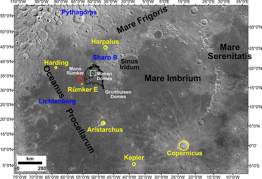The location of the Chang'e-5 landing site (43.06°N, 51.92°W) and adjacent regions of the Moon, as well as impact craters that were examined as possible sources of exotic fragments among the recently returned lunar materials. Credit: Qian et al. 2021