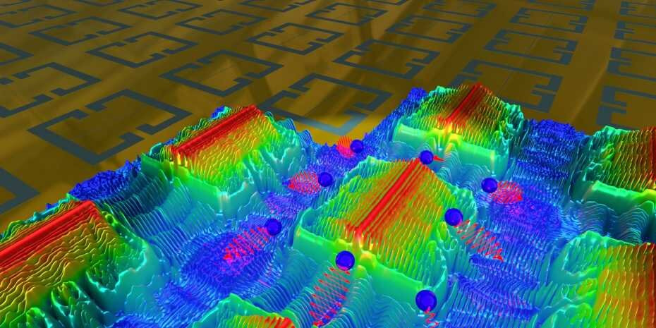 Metasurface of split-ring resonators, partially overlaid with 3D colourmaps showing the simulated electric-field distribution. High-momentum magnetoplasmons lead to the break-down of polaritons (blue spheres with photon energies in red). Credit: U. Senica, ETH Zurich