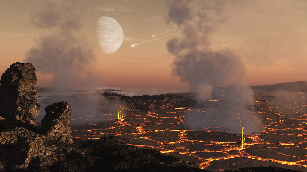 The early atmospheres of rocky planets are thought to form mostly from gases released from the surface of the planet as a result of the intense heating during the accretion of planetary building blocks and later volcanic activity early in the planet's development. Credit: Dan Durda/Southwest Research Institute