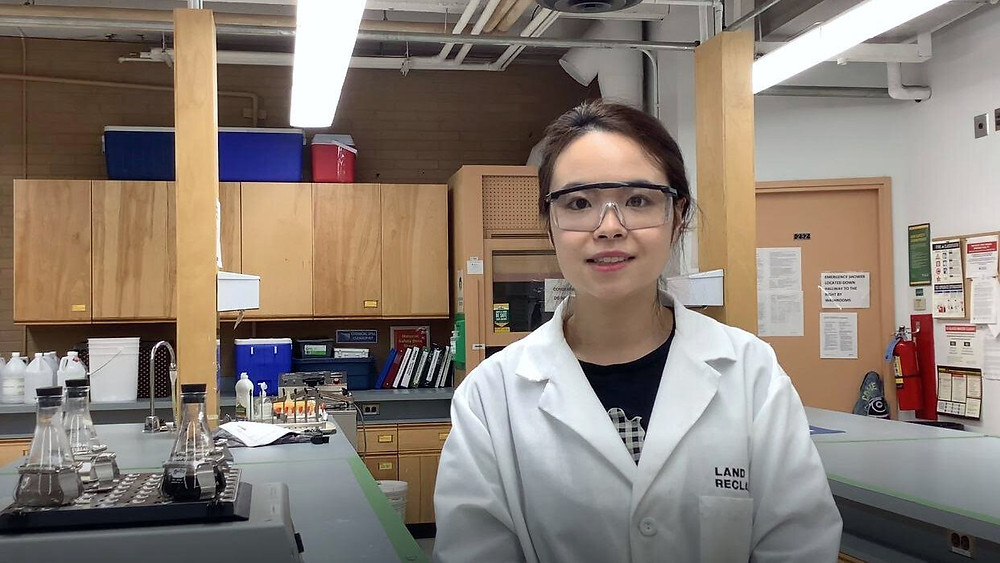 Yihan Zhao's PhD research shows that nano humus, a byproduct of coal mining, could offer a fast and effective way to help reclaim land and water used in mining. Credit: University of Alberta