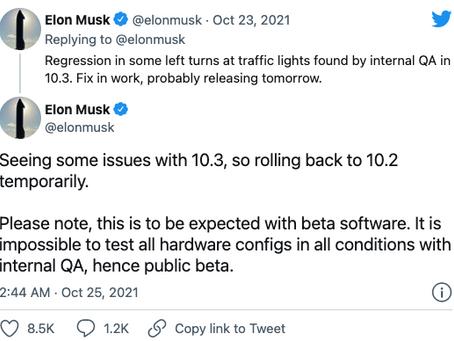 Tesla temporarily withdraws FSD version 10.3