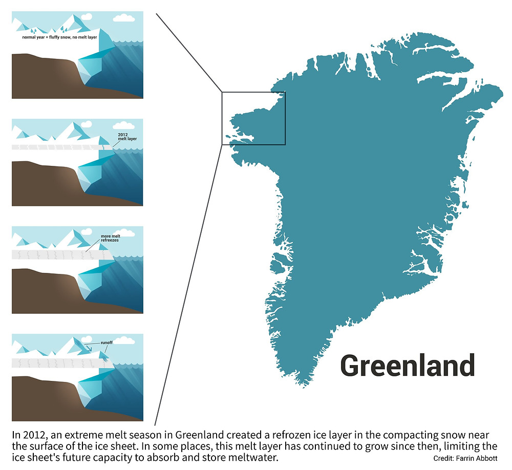 In 2012, an extreme melt season in Greenland created a refrozen ice layer in the compacting snow near the surface of the ice sheet. In some places, this melt layer has continued to grow since then, limiting the ice sheet's future capacity to absorb and store meltwater. Credit: Farrin Abbott