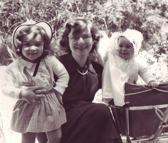 Amanda with her Mother, Miriam, and older sister, Laurinda, 1953
