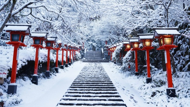 Red Japanese lights in snow
