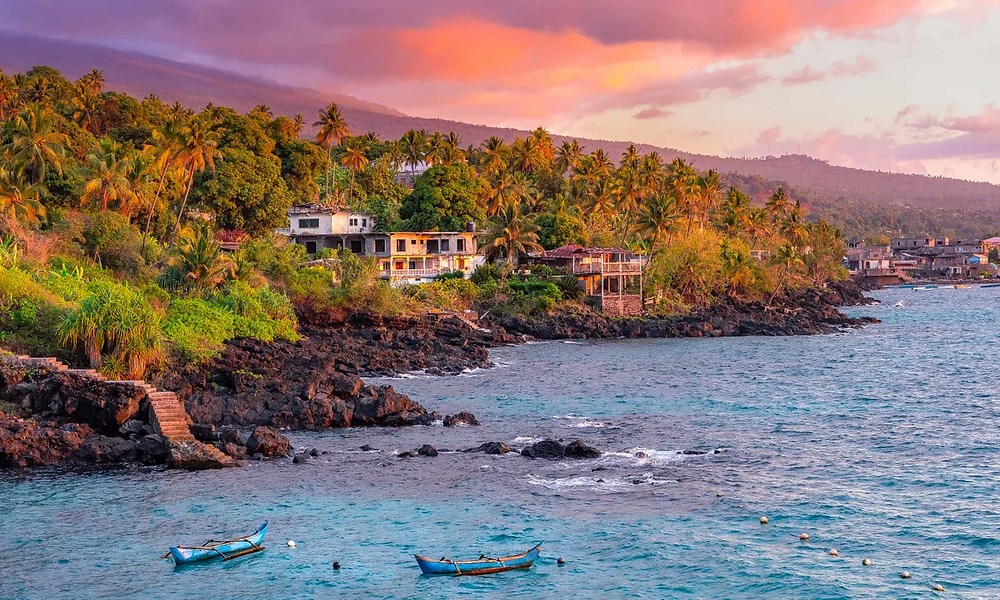 Sunset on the tropical island of Comoros.