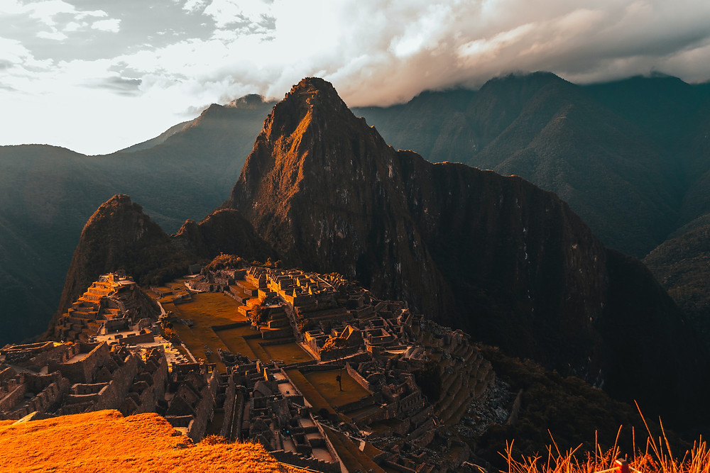 Ruins of Machu Picchu at sunset