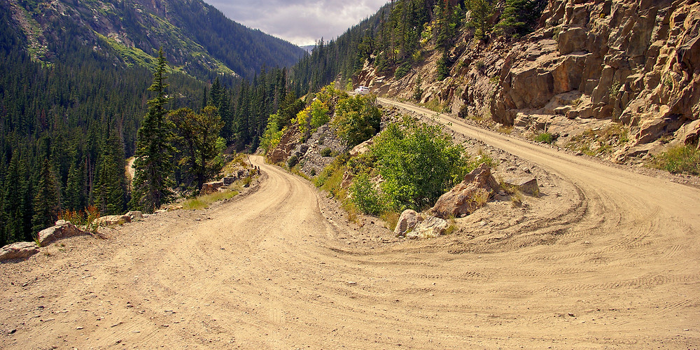 Dirt switchback road in the Rocky Mountains