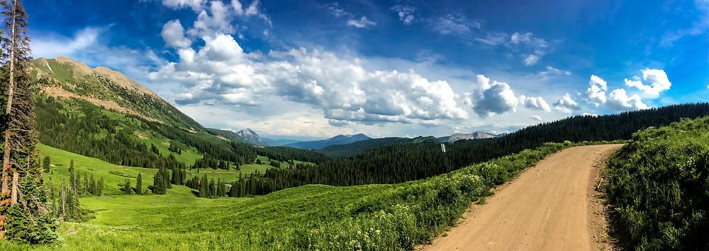 Dirt road through green mountain meadow