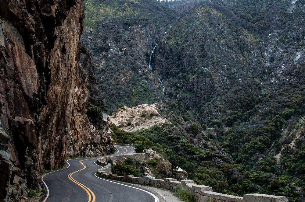 Road cuts through rocky canyon