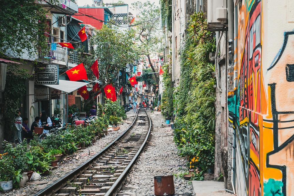 Train tracks going through Vietnamese city