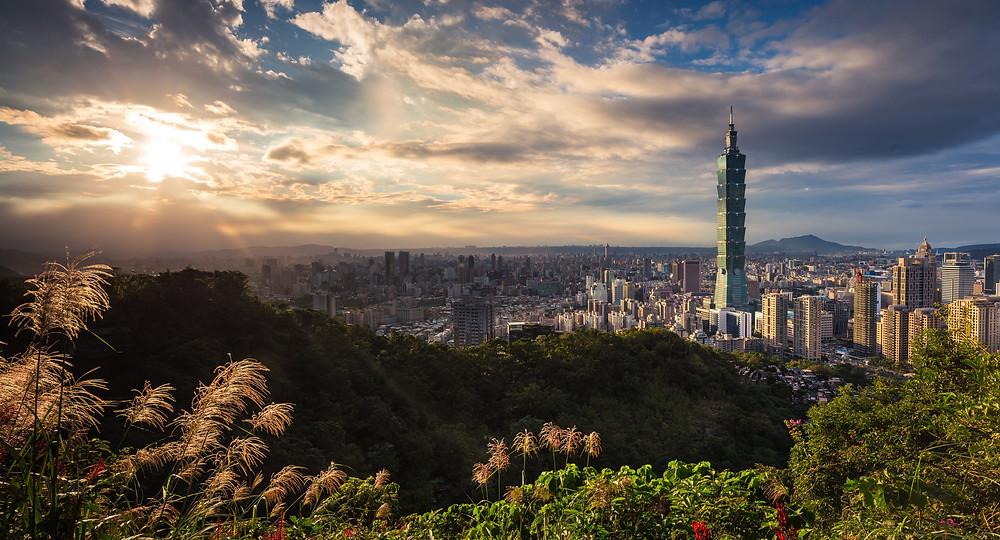 Taipei city skyline in the sunlight
