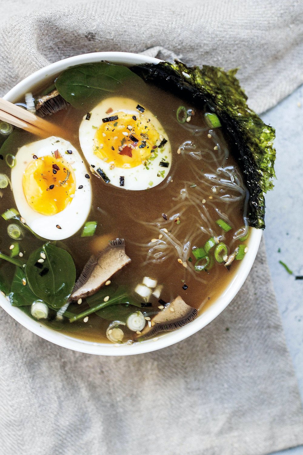 Bowl of ramen with egg and vegetables