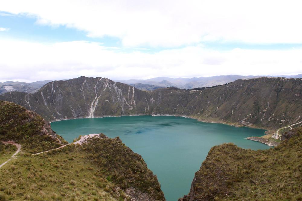 Blue lake in caldera