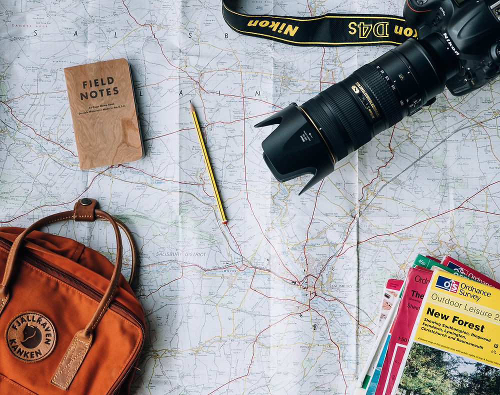 Camera and map for traveling