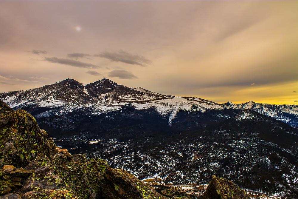 Snowy longs peak overlooking Estes Park, CO
