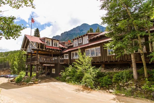 Historic wooden inn in mountains