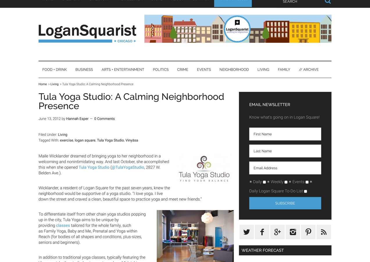 Tula Yoga Studio: A Calming Neighborhood Presence