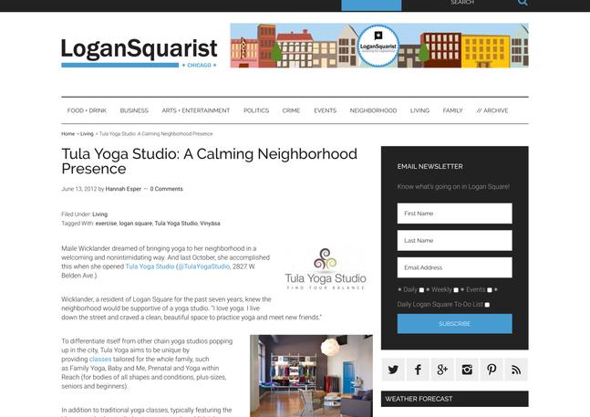 Tula Yoga Studio: A Calming Neighborhood Presence