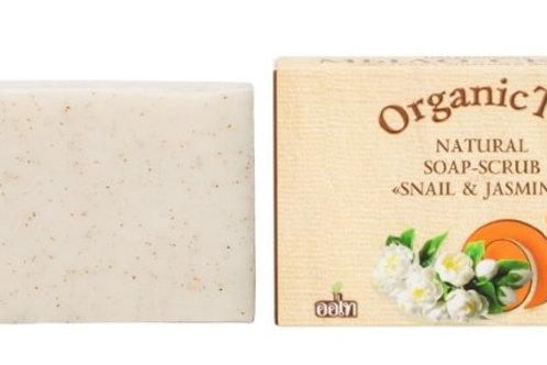 Натуральное мыло-скраб экстракт улитки и жасмин, OrganicTai