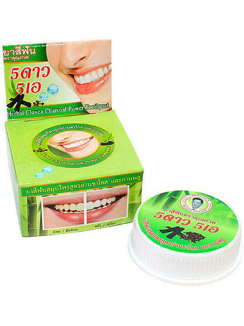 5 Star Cosmetic Травяная отбеливающая зубная паста с углем Бамбука, 25 гр