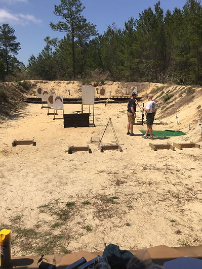 Man learning to shoot at Citrus County Florida Shooting Range