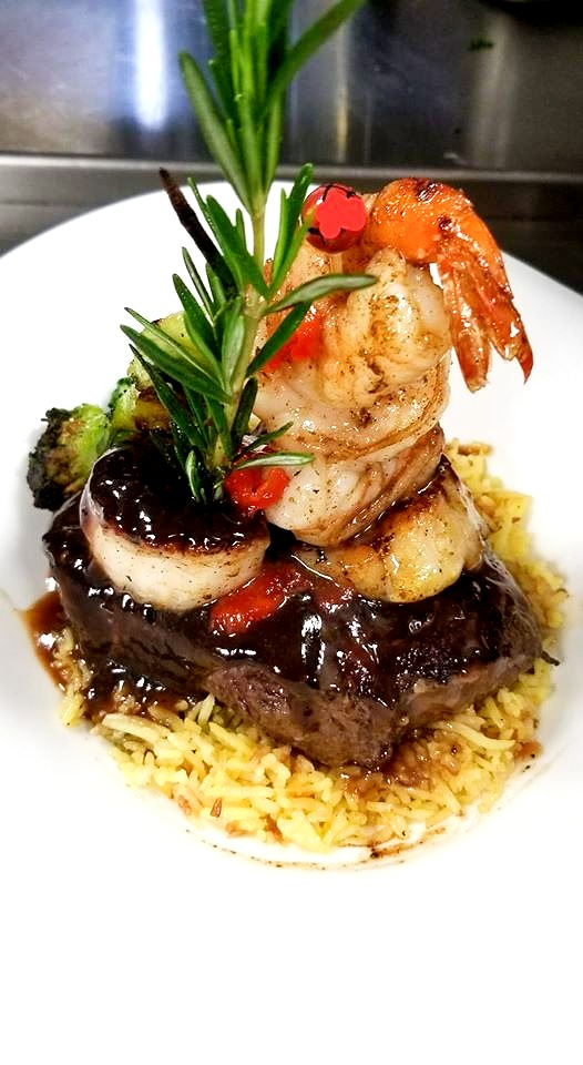 Special Grass-Fed Filet Mignon, with pan seared scallops and shrimp
